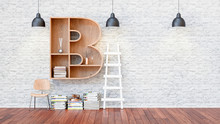 A Library With Bookshelves A Letter B.