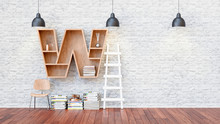 A Library With Bookshelves A Letter W.