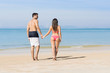 Couple On Beach Summer Vacation, Young People In Love Walking, Man Woman Holding Hands Sea Ocean Holiday Travel