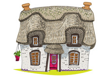 Straw Covered Traditional Vintage House - Cartoon - Coloring Book