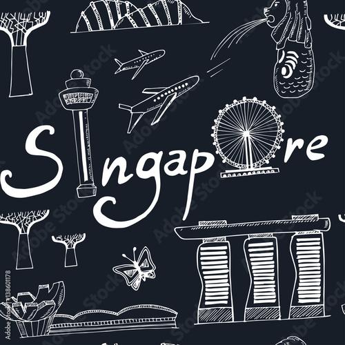 Photo  seamless pattern Singapore hand drawn icons Vector illustration