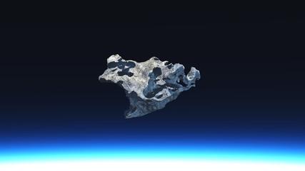 3D render of meteorite outerspace