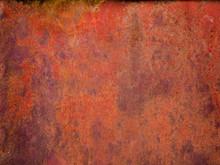 Old Painted Metal Surface. Rusty Metal, Peeling Paint, Red Tones