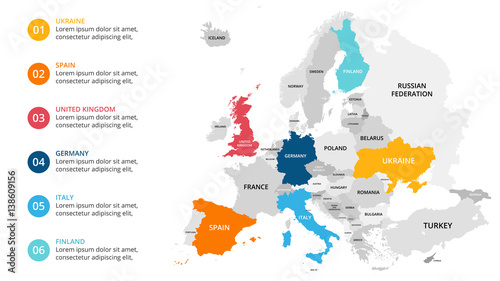 Europe map infographic. Slide presentation. Global business marketing concept. Color country. World transportation data. Economic statistic template.