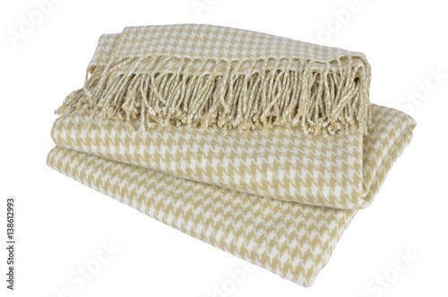 Juliste  Woolen blanket with beige and white hounds-tooth pattern and with heather on whi