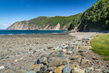 North Devon Coast Near The Villages Of Lynton And Lynmouth. Sunny Day And Blue Sky. UK