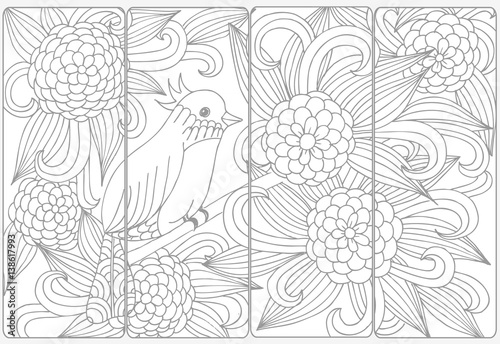 Vector Set Of Monochrome Bookmarks And Doodle Flowers For Coloring Adult Book