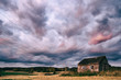 Shed and dramatic clouds