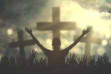 Prayers Hand With Three Cross ...