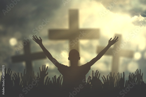 Prayers hand with three cross symbols Wallpaper Mural