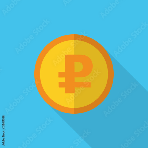 Currency Symbol On Gold Coin Russian Ruble Buy This Stock Vector