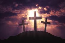 Three Crosses Symbol On Hill