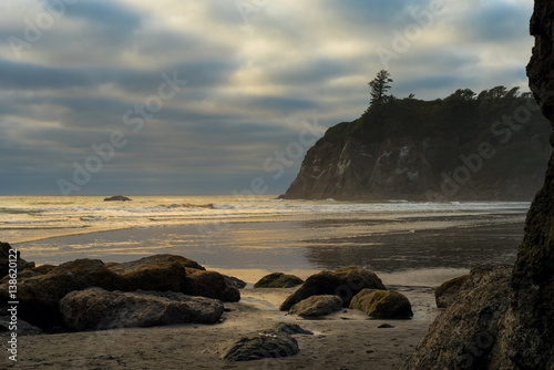 Sunlit golden waves breaking on Ruby Beach, on Washington's Pacific Coast Poster