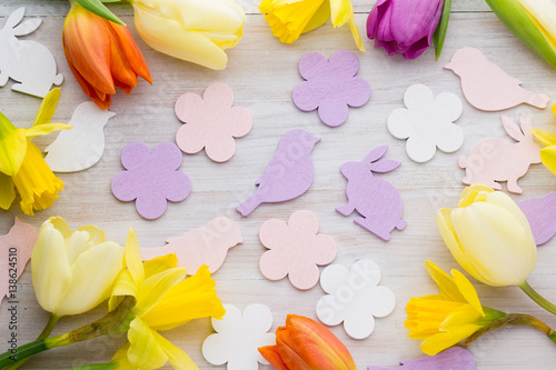 Canvas Prints Narcissus Easter and spring decoration, flowers and eggs.