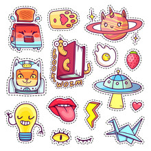 Cool Patch Badges And Pins In 80s-90s Pop Art Style With Cartoon Animals, Characters And Food. Vector Set Of Different Hand Drawn Stickers Including Book Worm, Cat Astronaut, Angry Toaster, Etc.