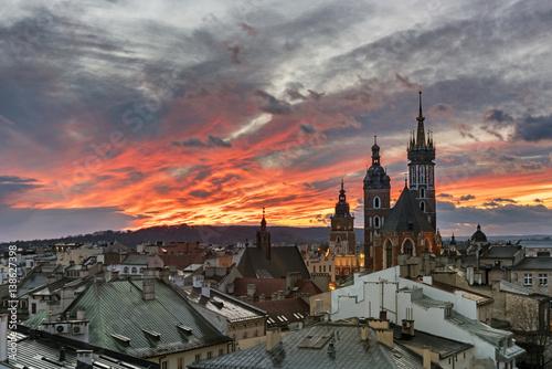 Fototapeta Sunset over Krakow in Poland obraz
