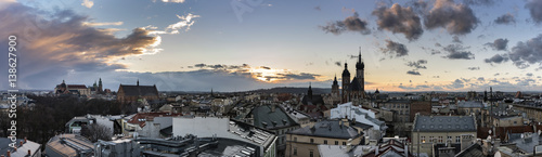 Panoramic view of Krakow city