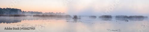 Fototapeta Panorama of the lake in the morning. obraz