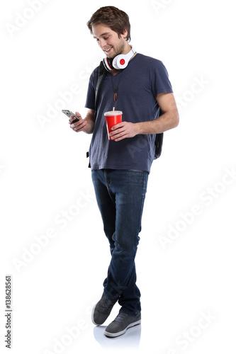 Student mit Handy Smartphone Ganzkörper Portrait Cola Getränk junger Mann jung F Wallpaper Mural