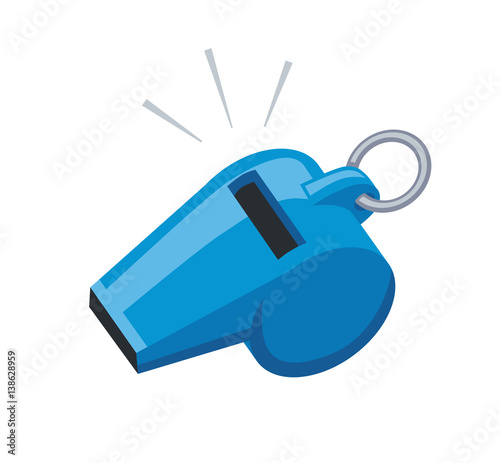 Blue sport coaches whistle icon isolated. Canvas-taulu