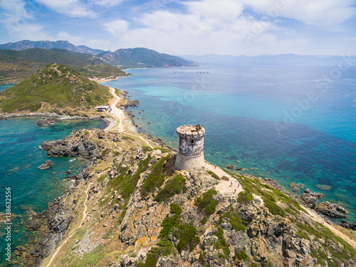 Aerial view of Sanguinaires bloodthirsty Islands in Corsica, France Wallpaper Mural