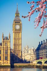 Fototapeta na wymiar Big Ben and westminster bridge in London at spring