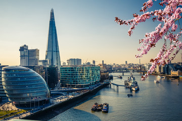 Aerial view on thames and london city at spring