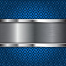 Metal Brushed Plate On Blue Perforated Background