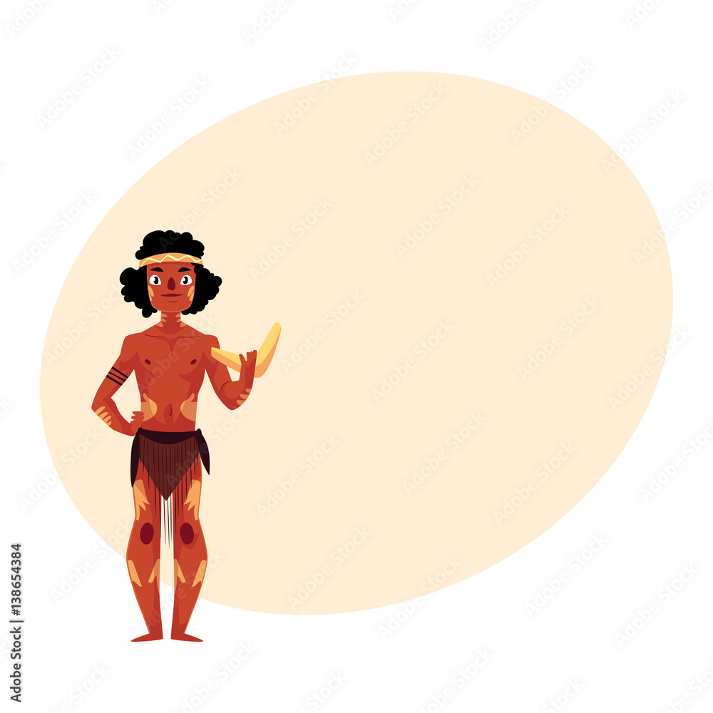 Australian Aborigine In Loincloth And War Paint Holding Boomerang