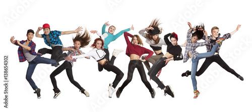 Küchenrückwand aus Glas mit Foto Tanzschule Young modern dancing group practice dancing