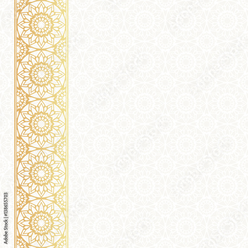 Invitation Card Vector Template Lacy Background With Golden
