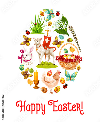 Fototapety, obrazy: Easter egg poster with holiday symbols. Patterned Easter eggs, rabbit bunny, egg hunt basket, lily of the valley flowers, chicken, chick, lamb of God with cross, green grass and butterfly