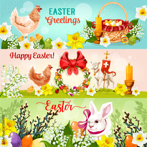 Superior Happy Easter Greetings Banners. Easter Rabbit Bunny With Egg Hunt Basket,  Chicken, Chick, Spring Flowers, ... Gallery