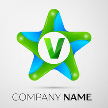 Letter V Vector Logo Symbol In The Colorful Star On Grey Background. Vector Template For Your Design
