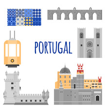 Travel Landmark Portugal Elements. Flat Architecture And Building Icons Tower Belem, Sintra Castle Pena Palace, Aqueduct Of Freedom Name Aguas Libre And Cathedral Of Lisbon.