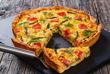 French Quiche With Salmon, Green Bean, Close-up