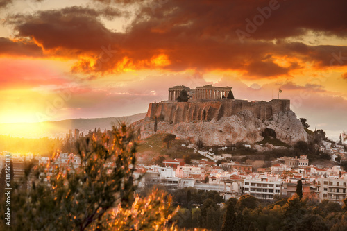 Poster Athens Acropolis with Parthenon temple against sunset in Athens, Greece