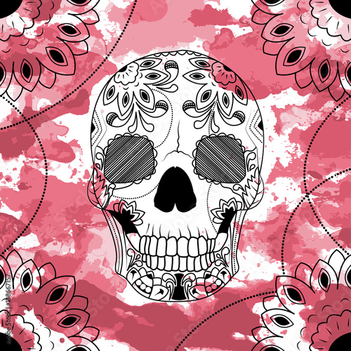 Photo sur Toile Crâne aquarelle Line art hand drawing black skull isolated on white background with dark red watercolor blots. Doodle style. Tatoo. Zenart. Zentangle.Coloring for adults