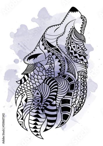 Ręka sztuka linii rysunek czarny wilk na białym tle z plamami akwarela. Doodle styl. Tatoo Zenart. Zentangle.Kolorowanie dla dorosłych.
