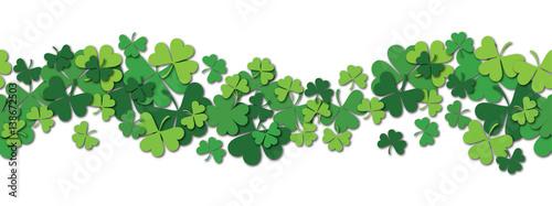 Obraz na płótnie Happy Saint Patrick s day vector horizontal seamless pattern background with shamrock