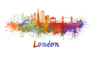 Fototapeta na wymiar London V2 skyline in watercolor splatters with clipping path