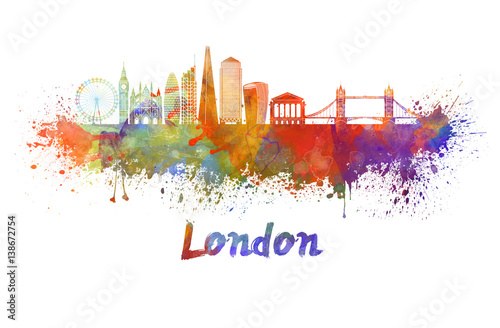 London V2 skyline in watercolor splatters with clipping path Poster