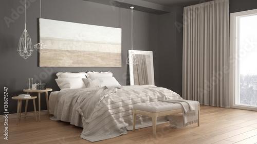 Photo  Classic bedroom, scandinavian modern style, minimalistic interior design