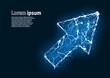 Blue glitter image of a cursor formed by lightnings. Vector illustration