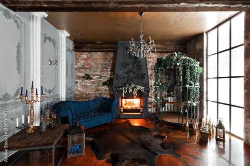 Interior With Fireplace Candles Skin Of Cows Brick Wall Large