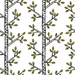 FototapetaBirches. Trees, branches, leaves. Seamless vector pattern (background).