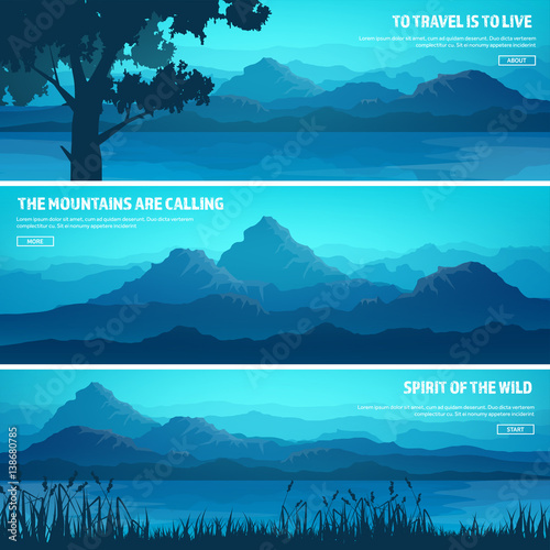 Photo Stands Turquoise Mountains and forest. Wild nature landscape. Travel and adventure.Panorama. Into the woods. Horizon line.Trees,fog. Wildlife.Lake,river.