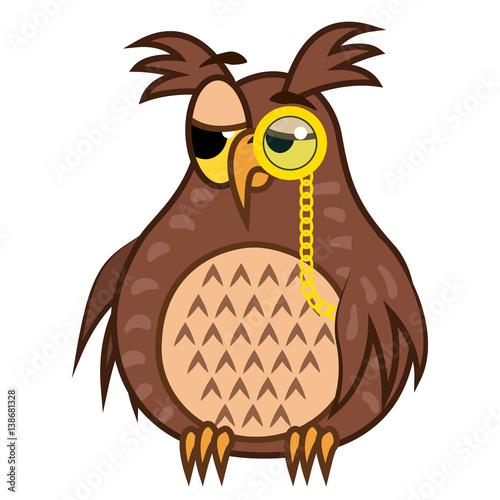 Photo Set isolated Emoji character cartoon sarcastic owl with pince nez