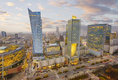 Fototapeta Warsaw city with modern skyscraper obraz