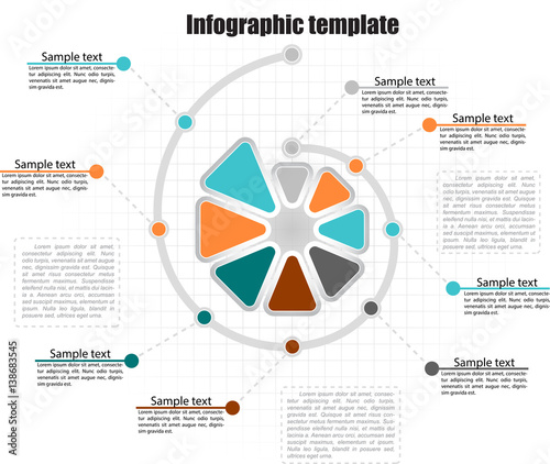 Photo Spiraling  circle infographic template 8 steps